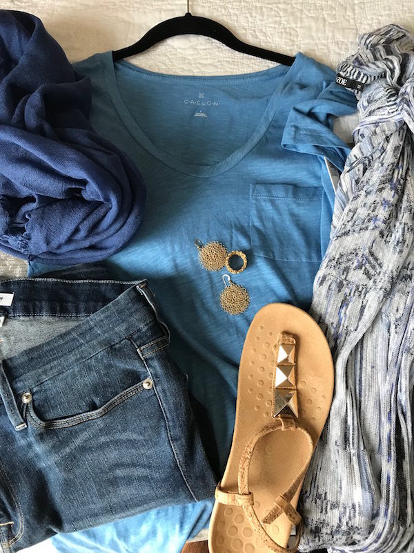 caslon aqua blue tee, caslon aqua blue round neck tee, blue fringe edge scarf, caslon aqua blue front pocket tee, good american blue jeans, medium wash denim, nic+zoe white and blue hooded cardigan, vionic cork and gold stud sandals