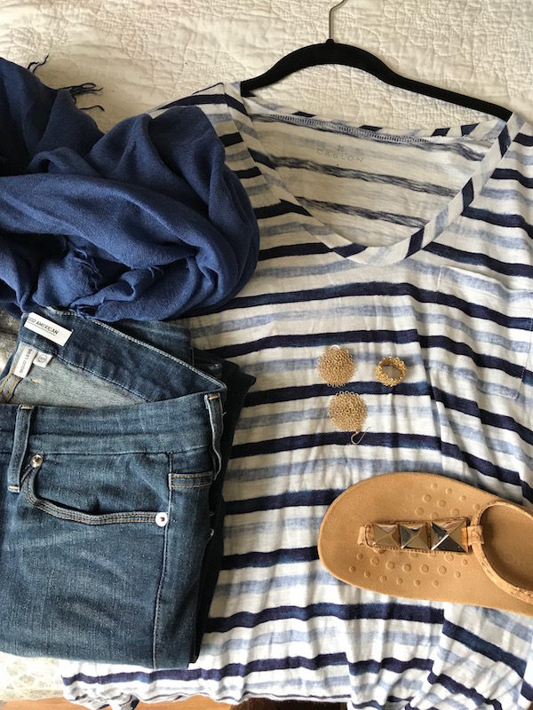 caslon white and blue striped tee, caslon striped tee, calson white and blue stripe front pocket tee, god american blue jeans, medium wash denim, blue fringe edge scarf, vionic cork and gold stud sandals