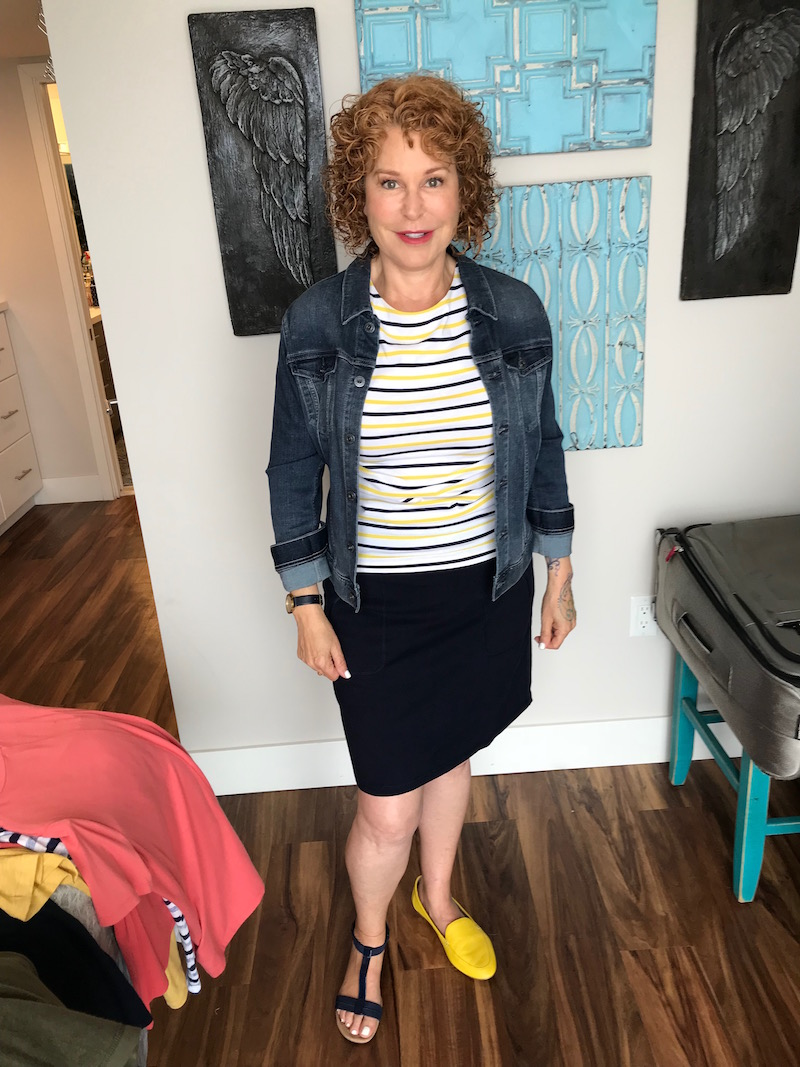 1901 striped tee, 1901 multi-color striped tee, ag denim jacket, ag jean jacket, t by talbots navy blue skirt, alfani navy blue sandals, talbots yellow flats, talbots yellow loafers