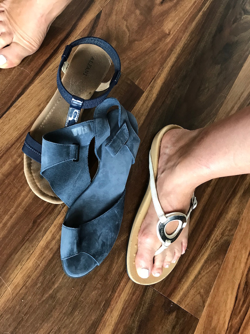 alfani navy blue sandals, vionic white sandals, arche navy blue suede wrap sandals