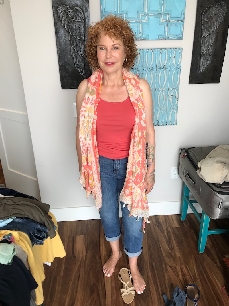 eileen fisher pink tank top, chicos blue jeans, vaneli white strappy sandals, pink multi-color print scarf