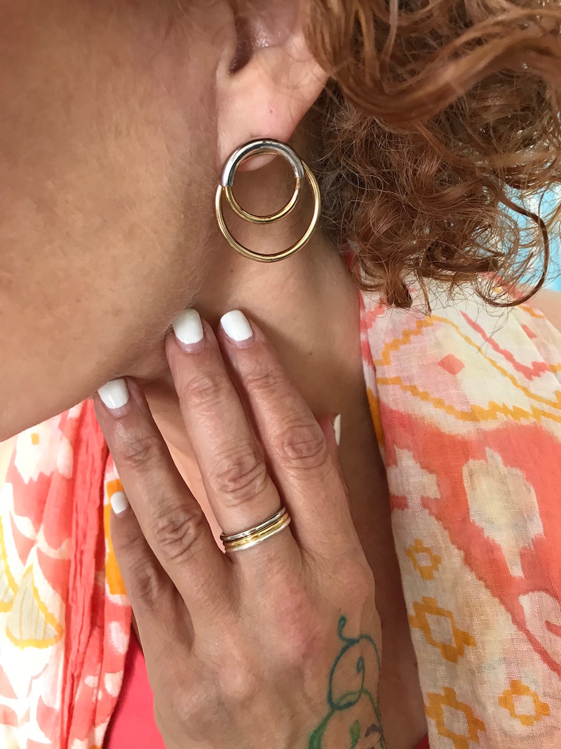 mixed metal layered circle earrings, gold rings