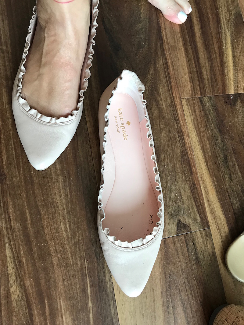 kate spade white pointy toe flats
