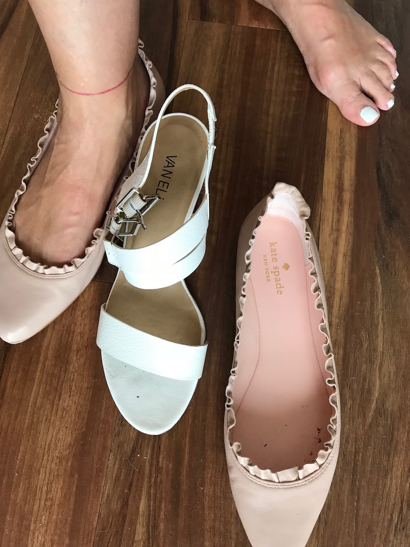 kate spade nude pointy toe flats, vaneli white strappy sandals