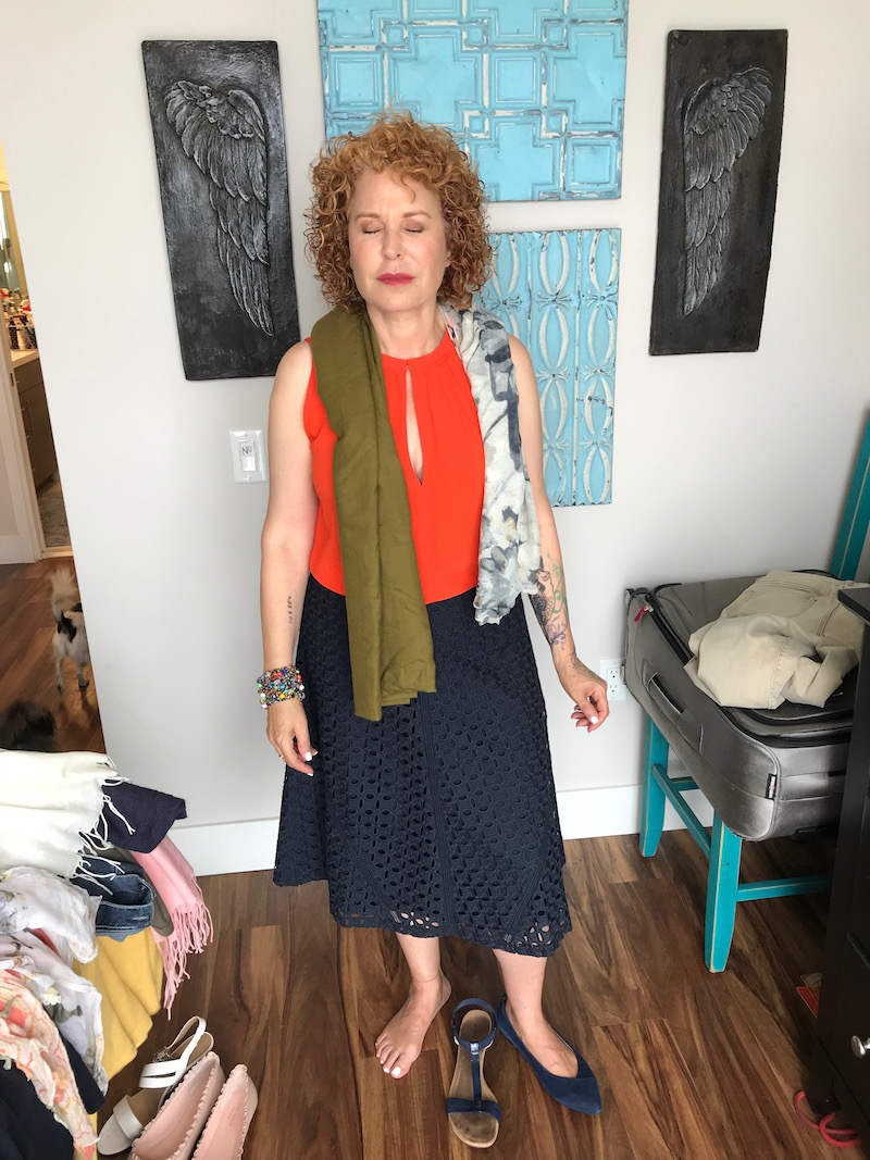 loft orange keyhole top, loft orange sleeveless top, ann taylor navy blue lace skirt, alfani navy blue sandals, navy blue pointy toe flats, olive green scarf, white and blue printed scarf