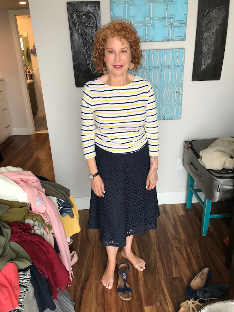 1901 striped tee, 1901 multi-color striped tee, ann taylor navy blue lace skirt, alfani navy blue sandals