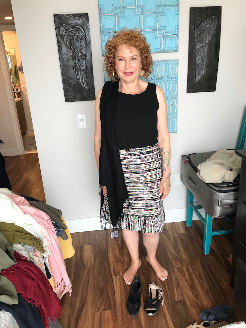 eileen fisher black tank top, ann taylor multi-color fringe edge skirt, black fringe edge scarf, vionic black pointy toe flats, beautifeel black wrap around sandals