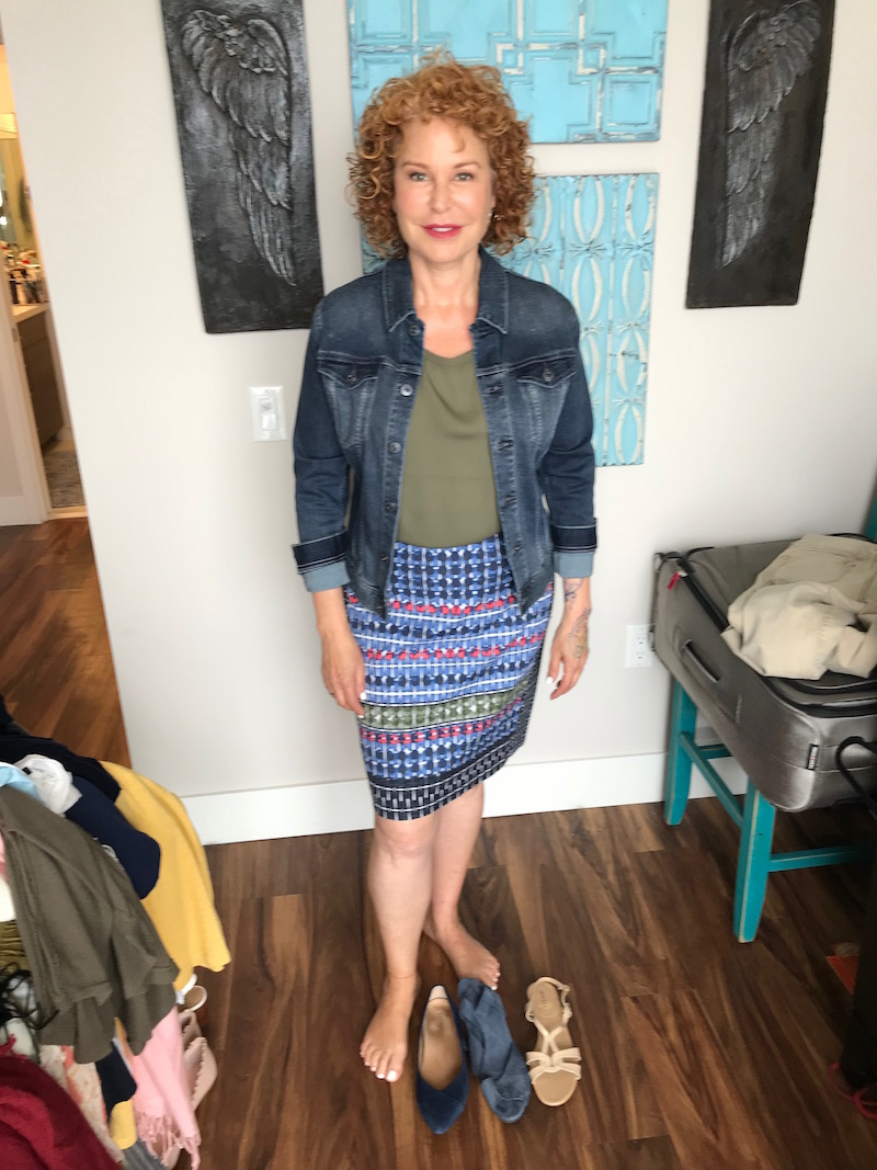 joie olive green short sleeve top, ag denim jacket, ag jean jacket, nic + zoe blue multi-color print skirt, vionic navy blue suede pointy toe flats, arche nav y blue suede wrap sandals, vaneli white strappy sandals