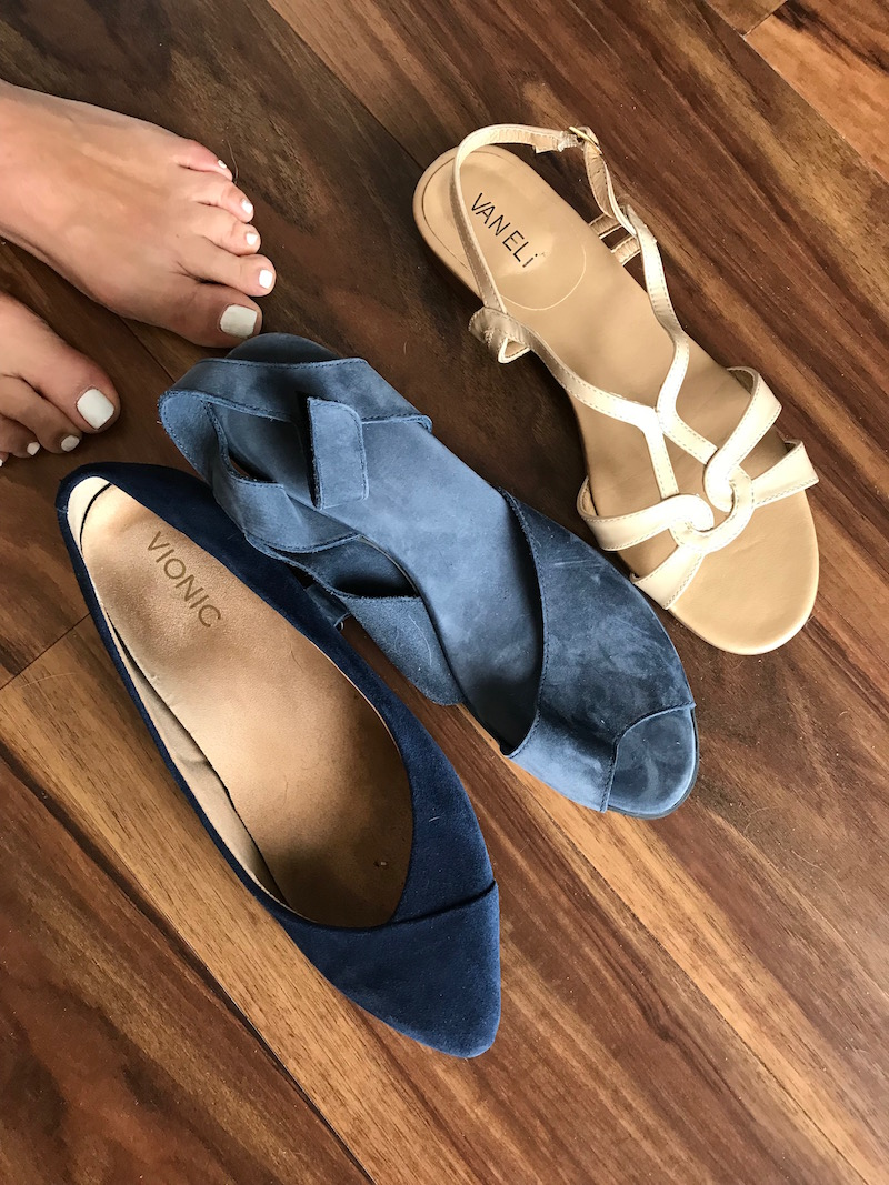 vionic navy blue suede pointy toe flats, arche navy blue suede wrap sandals, vaneli white strappy sandals