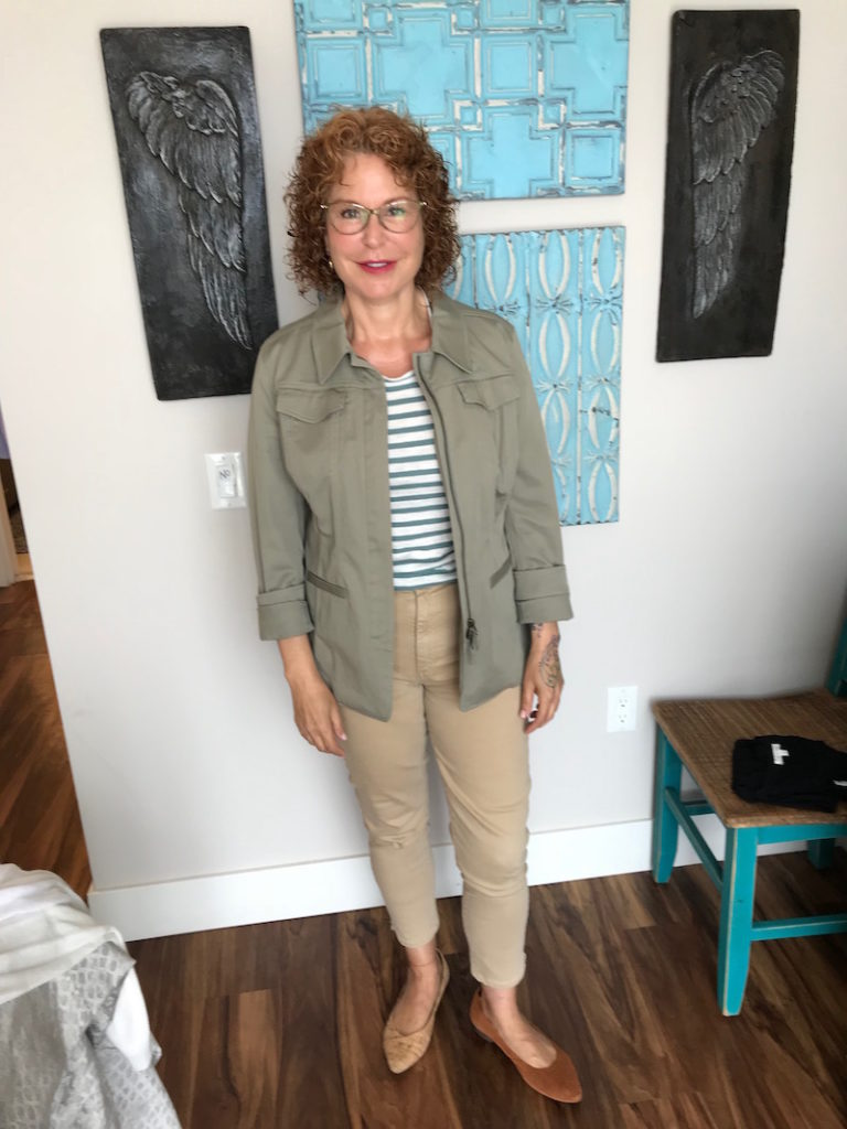 madewell striped tee, madewell white and green striped tee, caslon olive green jacket, joe's khaki jeans, joe's tan jeans, vionic cork pointy toe flats, vionic tan perforated pointy to flats