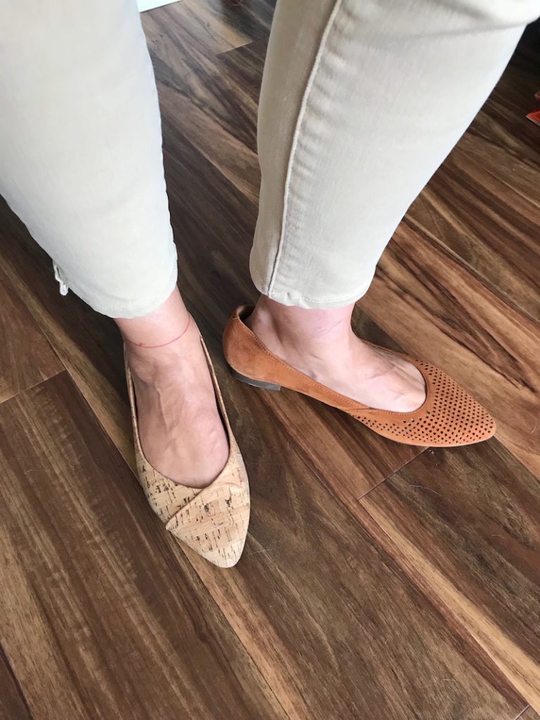 vionic cork pointy toe flats, vionic tan perforated pointy to flats