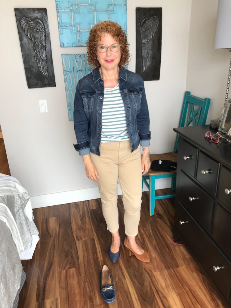 madewell white and green striped tee, madwell striped tee, ag denim jacket, ag jean jacket, joe's khaki jeans, joe's tan jeans, vionic blue loafers, vionic blue pointy toe flats, vionic tan perforated pointed toe flats