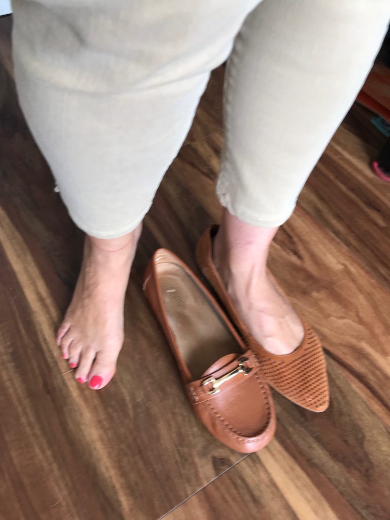 vionic tan loafers, vionic tan perforated pointy toe flats