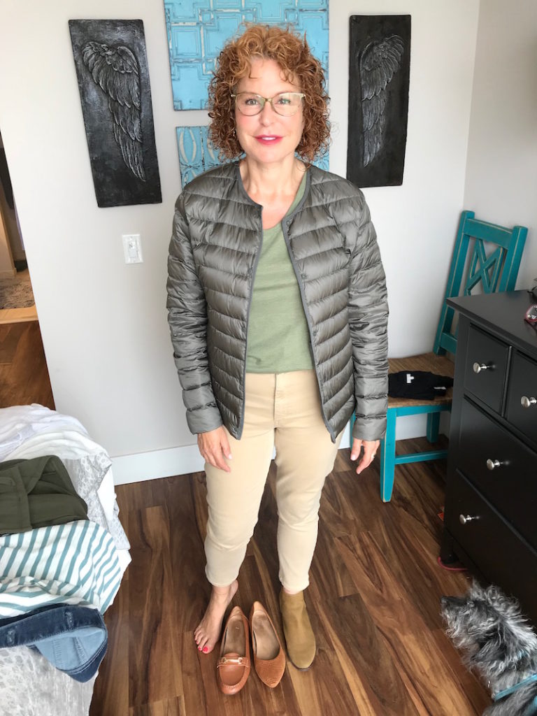 merona light green tee, uniqlo olive green puffer jacket, joe's khaki jeans, joe's tan jeans, vionic tan loafers, vionic tan perforated pointy toe flats, lucky brand tan booties, lucky bran tan ankle boots