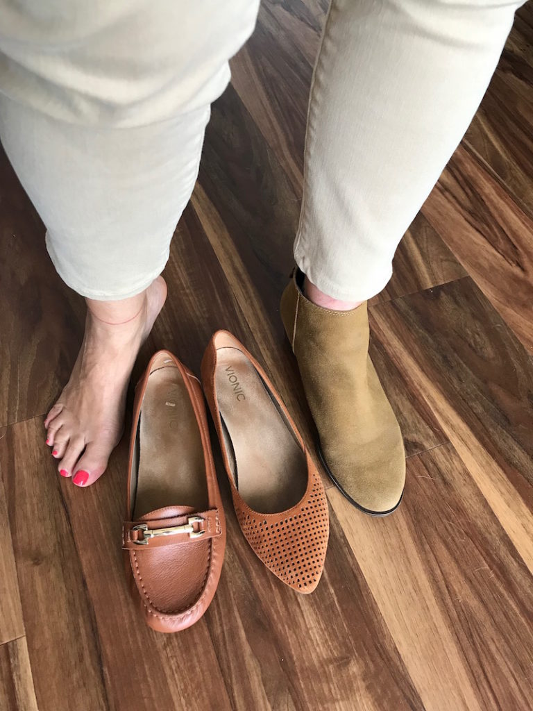 vionic tan loafers, vionic tan perforated pointy toe flats, lucky brand tan booties, lucky bran tan ankle boots