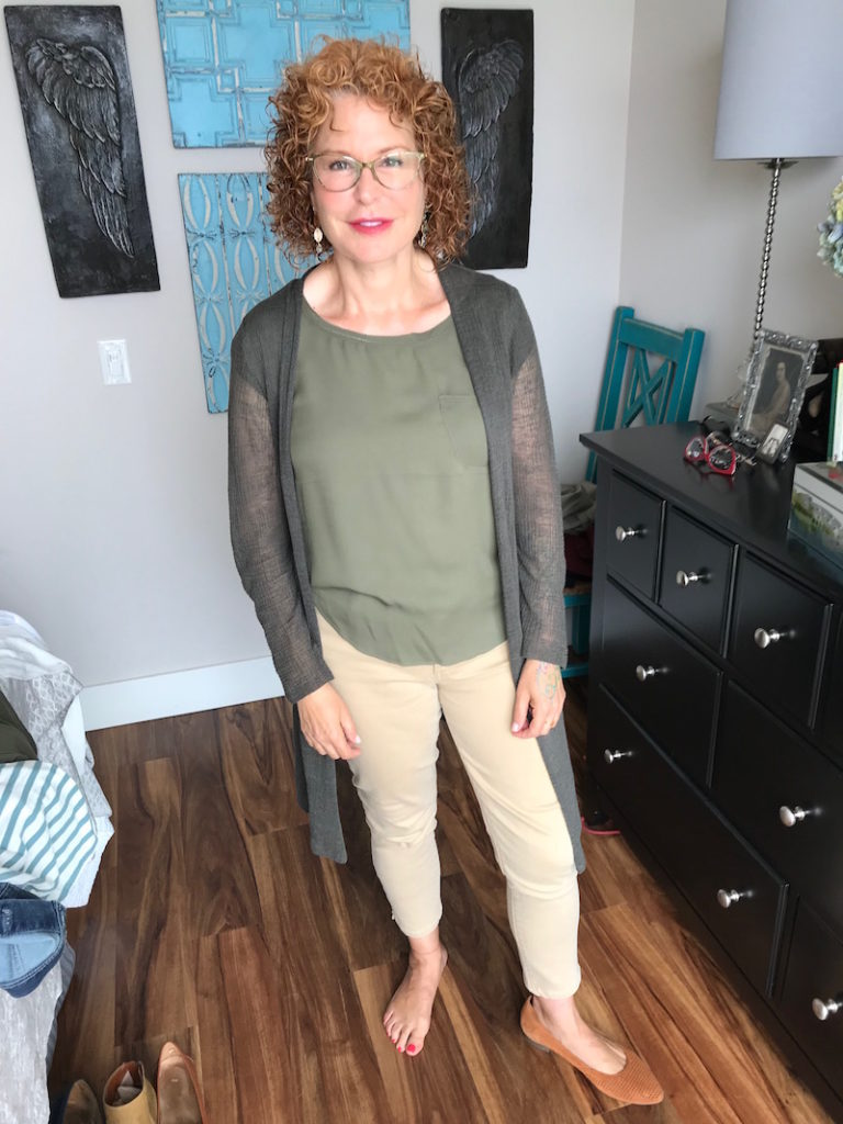 joie olive green blouse, joie olive green front pocket blouse, eileen fisher olive green cardigan, joe's khaki jeans, joe's tan jeans, vionic tan perforated pointy toe flats