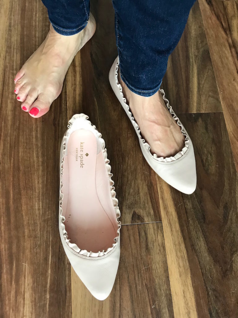 blush kate spade pointy toe flats
