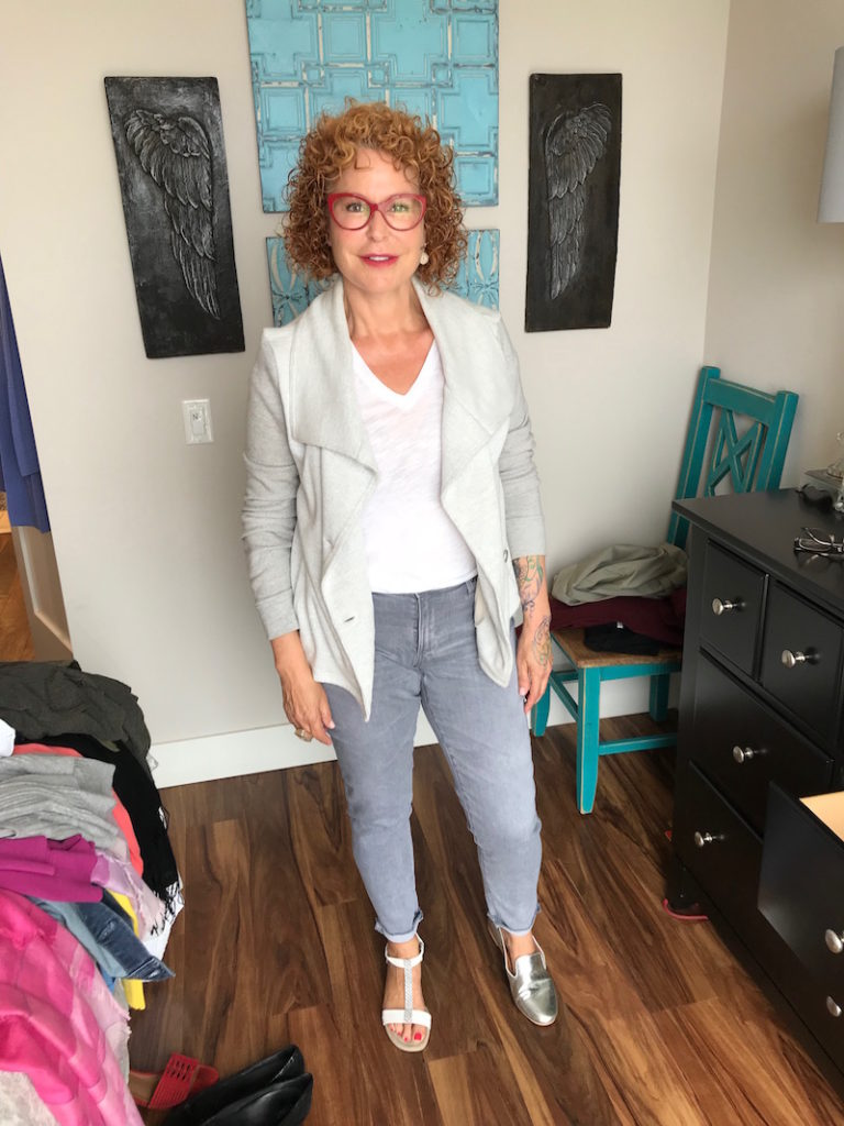 madewell white tee, madewell white v-neck tee, ag grey jeans, caslon light grey cardigan, alfani white strappy sandals, gentle souls silver flats