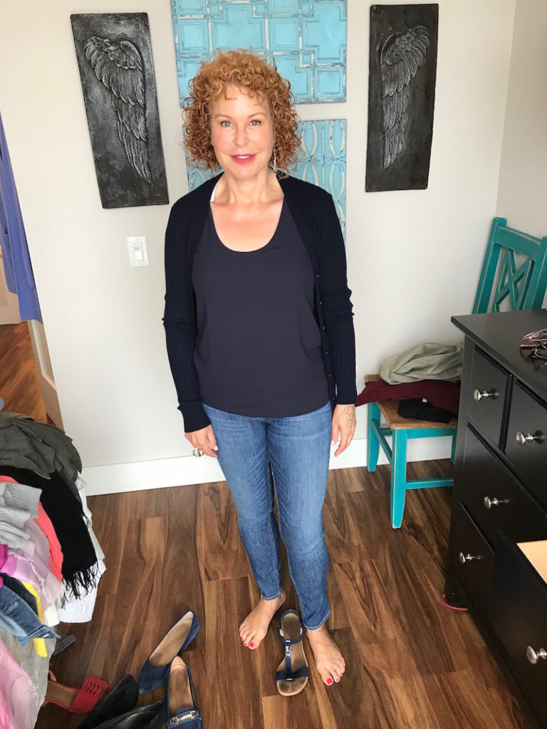 ann taylor navy blue tank, ann taylor u-neck tank, vince navy blue cardigan, rag and bone light blue jeans, rag and bone blue jeans, alfani blue strappy sandals