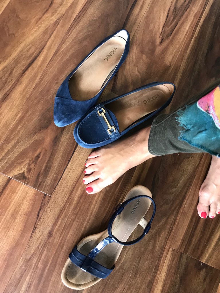 vionic navy blue suede pointy toe flats, vionic blue loafers, alfani blue strappy sandals