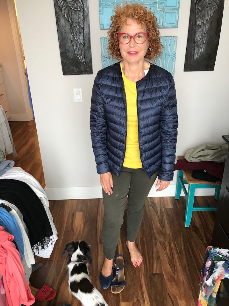 1901 yellow tee, 1901 yellow crew neck tee, uniqlo navy blue puffer jacket, vionic navy blue suede pointy toe flats, alfani blue strappy sandals, paige olive green jeans