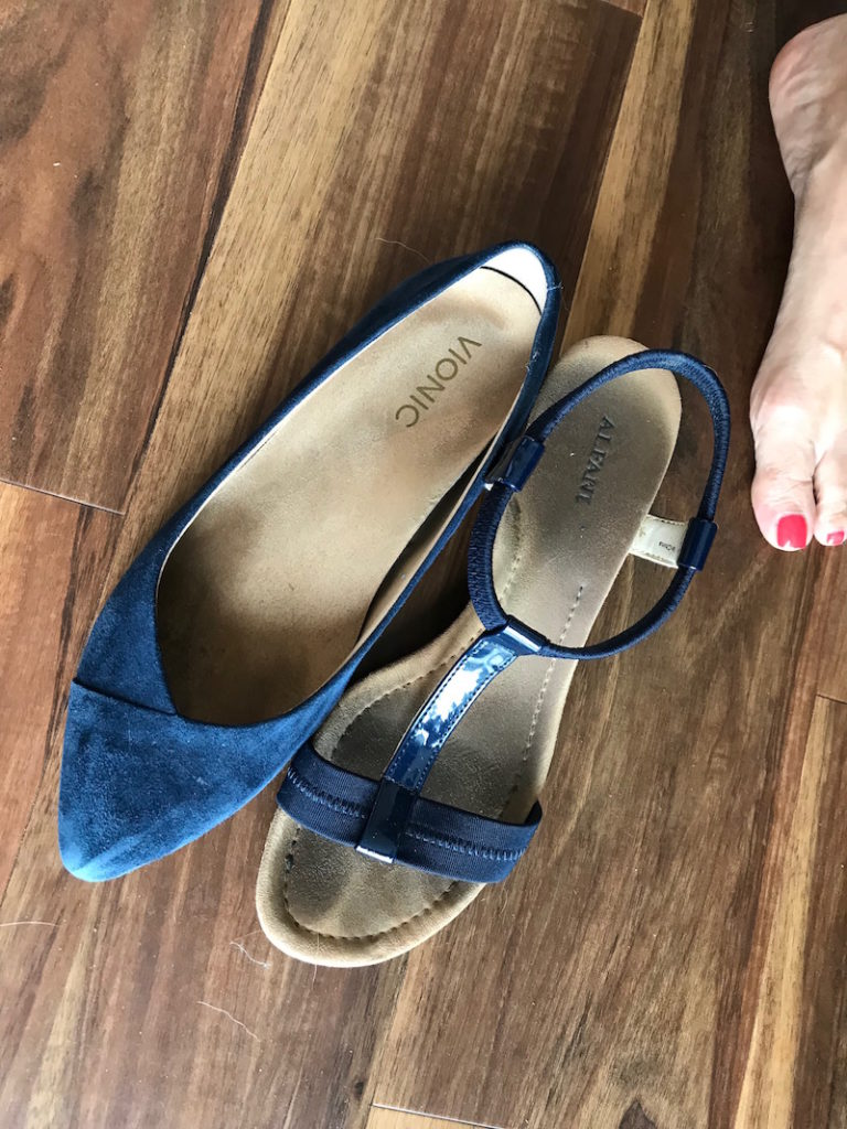 alfani blue strappy sandals, vionic navy blue suede pointy toe flats