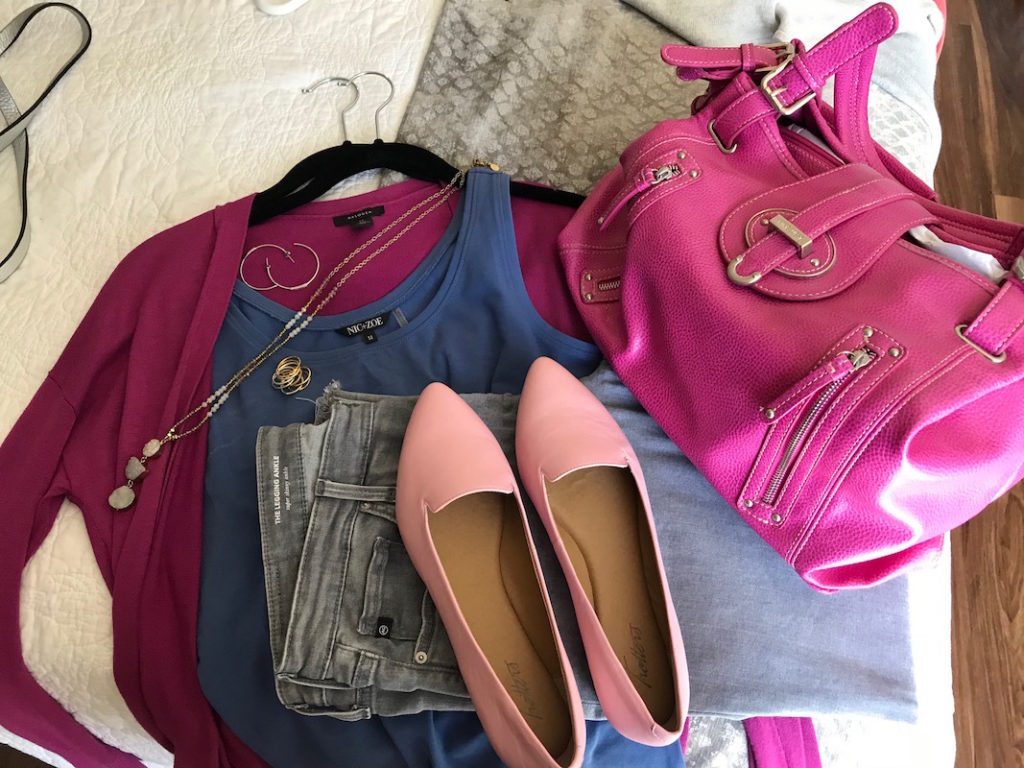 nic + zoe blue tank top, halogen fuchsia cardigan, halogen magenta cardigan, trotters light pink pointy toe flats, pink shoulder bag, ag light grey skinny jeans