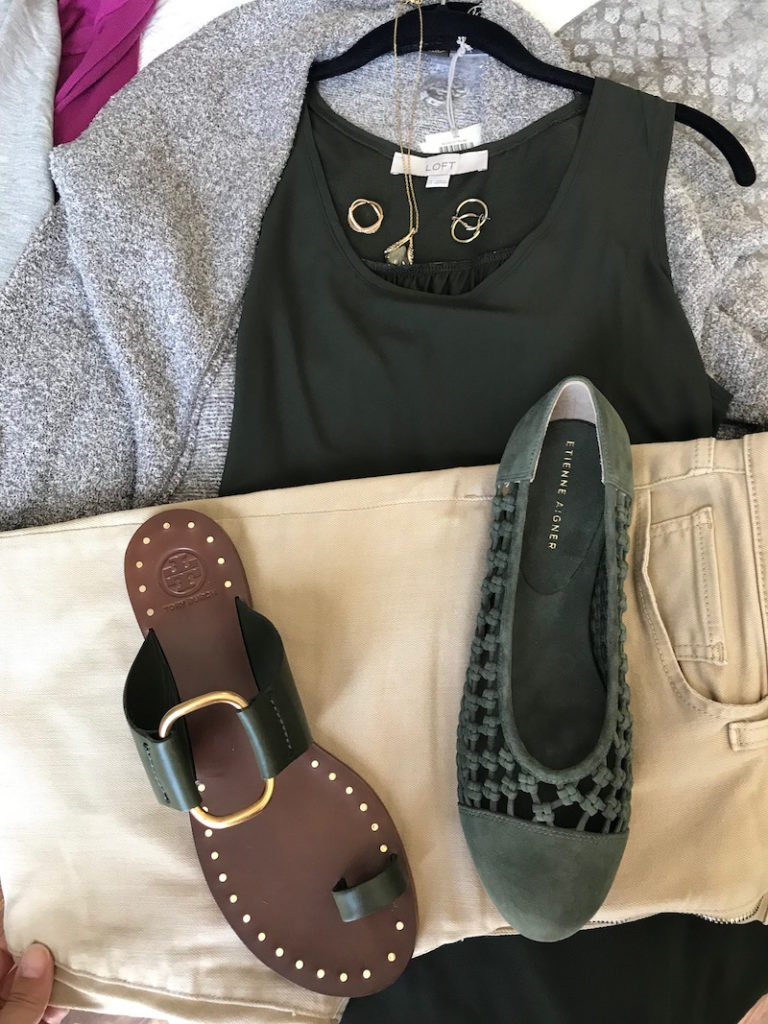 loft olive green tank top, light grey cardigan, joe's khaki jeans, etienne aigner olive green suede braided flats, tory burch dark green snadals