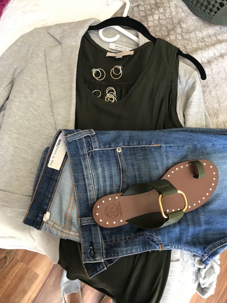 loft olive green tank tops, bailey 44 light grey cardigan, rag and bone light blue jeans, tory burch dark green sandals