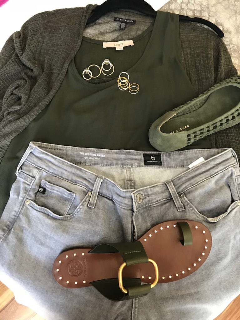loft olive green tank tops, eileen fisher olive green cardigans, ag light grey skinny jeans, tory burch dark green sandals, etienne aigner olive green suede braided flats