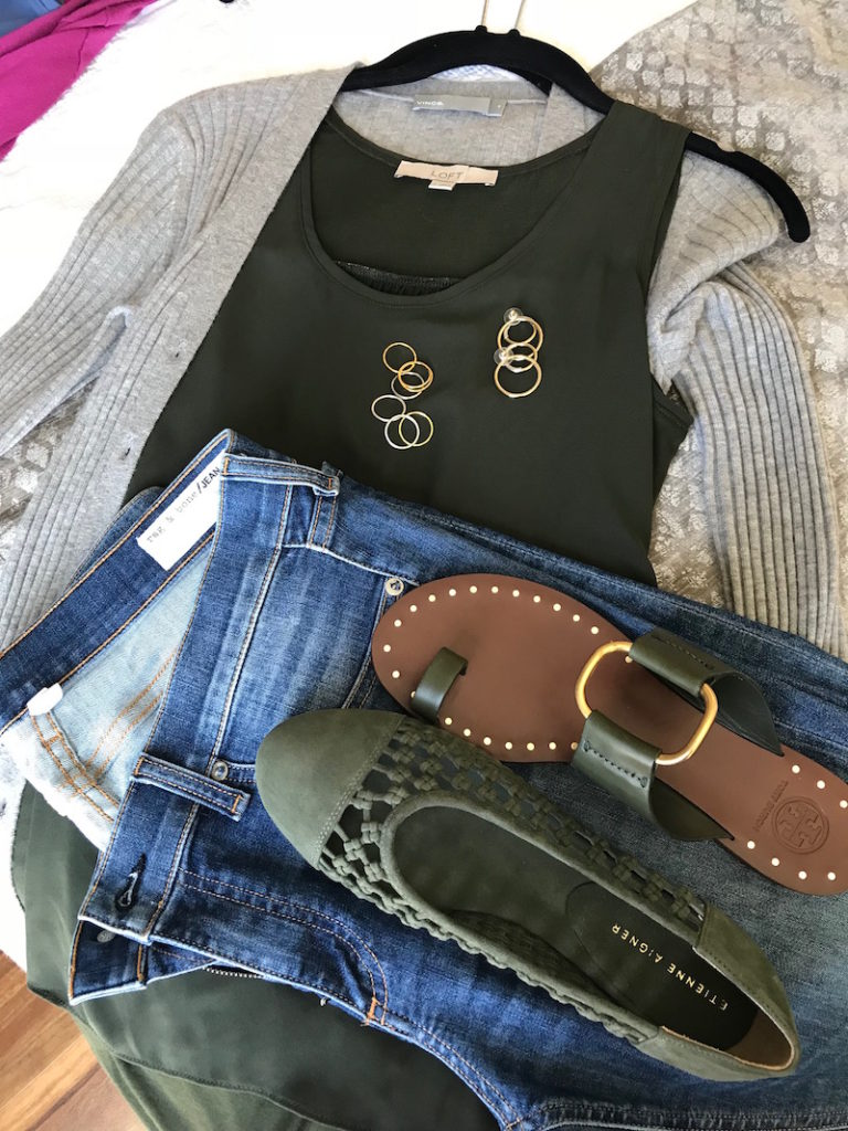 loft olive green tank tops, vince light grey button up cardigan, rag and bone light blue jeans, tory burch dark green sandals, etienne aigner olive green suede braided flats