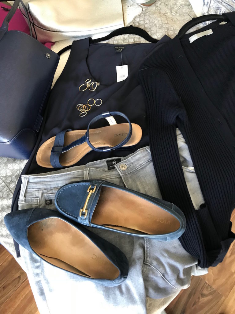 vince navy blue tank top, vince navyblue cardigan, ag light grey skinny jeans, alfani navy blue sandals, vionic navy blue suede pointy toe flats, vionic navy blue loafers, navy blue tote bag