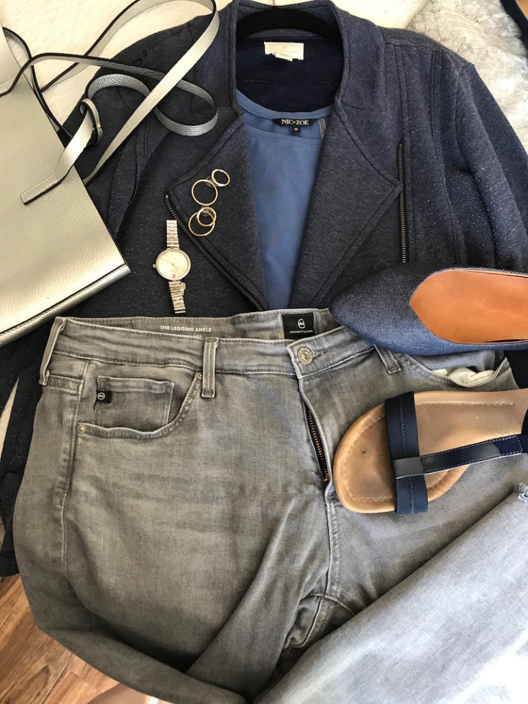 nic + zoe blue tank top, caslon blue zip up jacket, silver tote bag, ag light grey skinny jeans, vionic blue pointy toe flats, alfani navy blue sandals