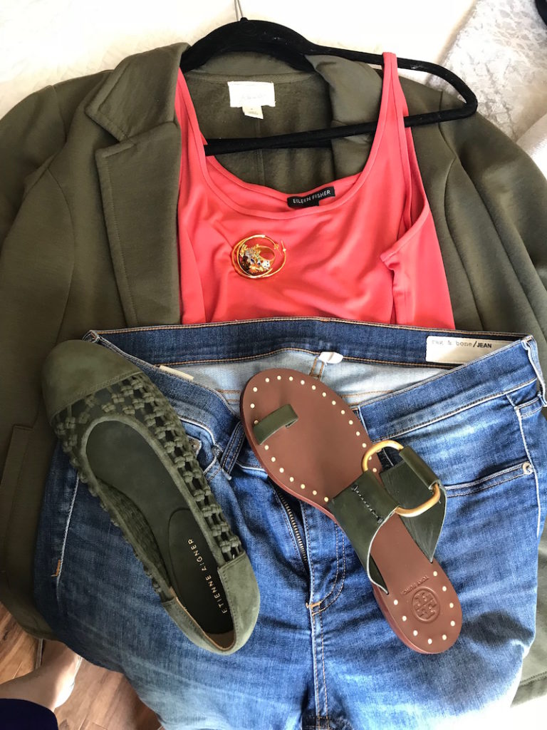 eileen fisher coral tank top, caslon olive green cardigan, rag and bone light blue jeans, tory burch dark green sandals, etienne aigner olive green suede braided flats