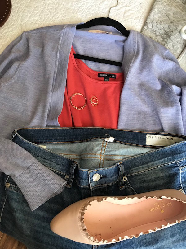 eileen fisher coral tank top, rag and bone light blue jeans, tory burch lavender cardigan, kate spade light pink pointy toe flats