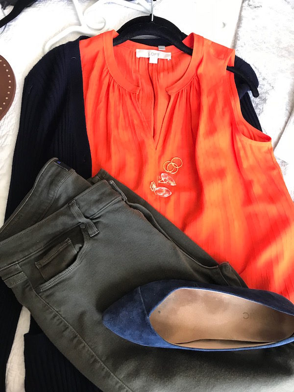 loft orange v-neck blouse, loft orange sleeveless blouse, navy blue cardigan, paige olive green jeans, vionic navy blue pointy toe flats,