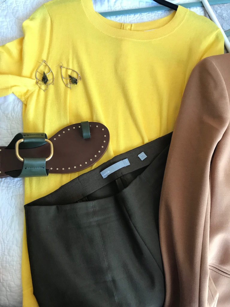 1901 yellow short sleeve sweater, j.crew tan blazer, vince olive green pants, vince olive green slacks, tory burch dark green sandals