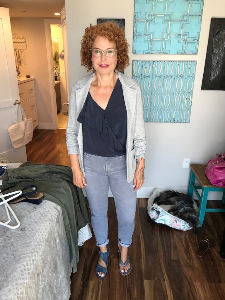 joie navy blue blouse, joie navy blue v-neck blouse, bailey 44 light grey cardigan, ag light grey skinny jeans, eileen fisher grey suede sandals, arche blue suede wrap sandals
