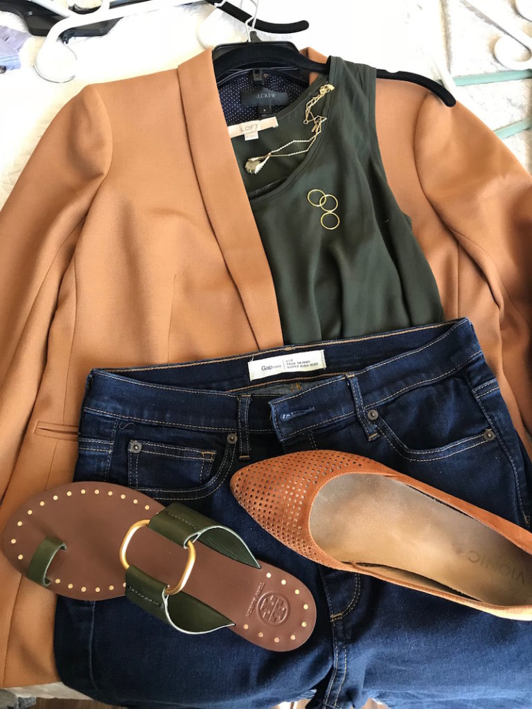 loft olive green tank top, j.crew tan blazer, gap dark blue jeans, tory burch dark green sandals, vionic tan perforated pointy to flats