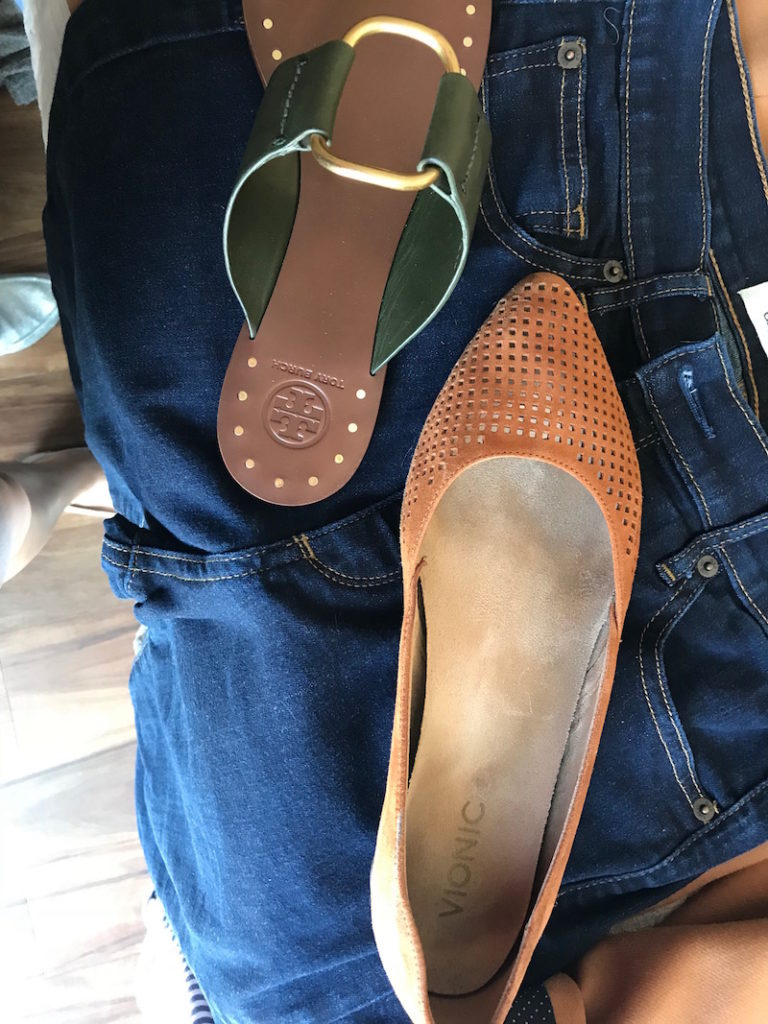 tory burch dark green sandals, vionic tan perforated pointy to flats