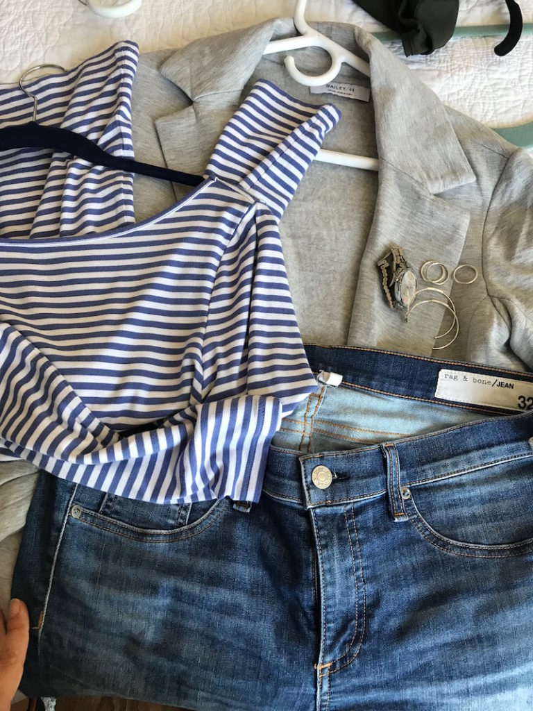 blue and white striped top, blue and white striped boat neck top, bailey 44 light grey cardigan, rag and bone light blue jeans