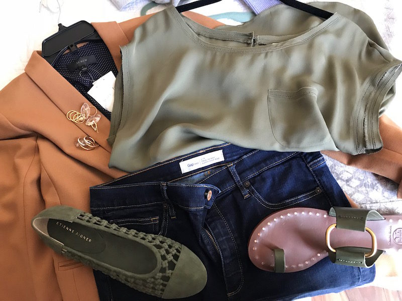 joie olive green short sleeve blouse, joie olive green front pocket blouse, j.crew tan blazer, gap dark blue jeans, tory burch dark green sandals, etienne aigner olive green suede braided flats