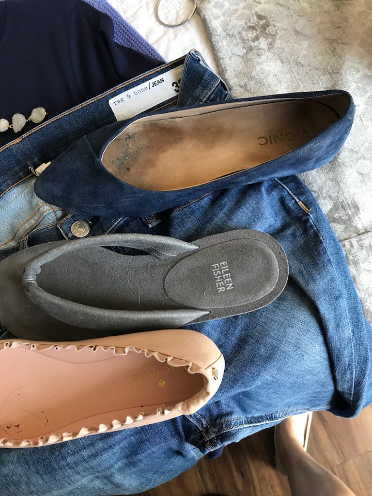 vionic navy blue suede pointy toe flats, eileen fisher grey suede sandals, kate spade light pink pointy toe flats