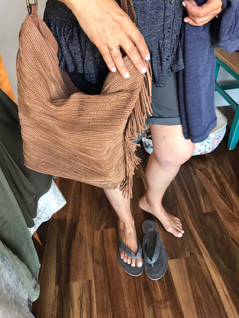 tan fringe shoulder bag, elieen fisher grey sandals