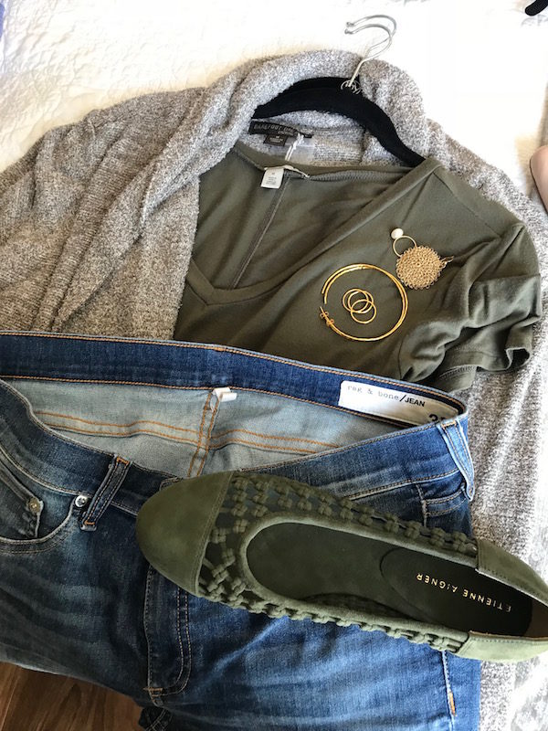 halogen olive green tee, halogen olive green v-neck tee, barefoot dream olive green cardigan, rag and bone light blue jeans, etienne aigner olive green suede braided flats