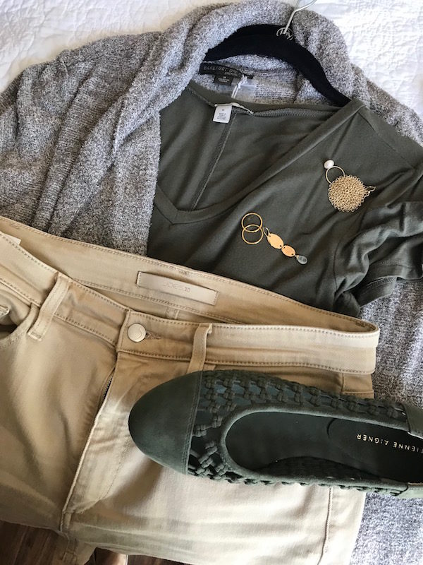 halogen olive green tee, halogen olive green v-neck tee, joe's khaki jeans, barefoot dream beige oatmeal cardigan, etienne aigner olive green suede braided flats