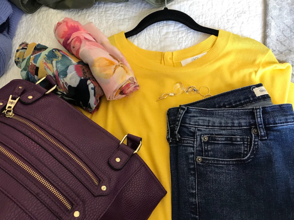 1901 yellow short sleeve sweater, gap dark blue jeans, plum tote bag, pink multi-color print scarf, multi-color printed scarf