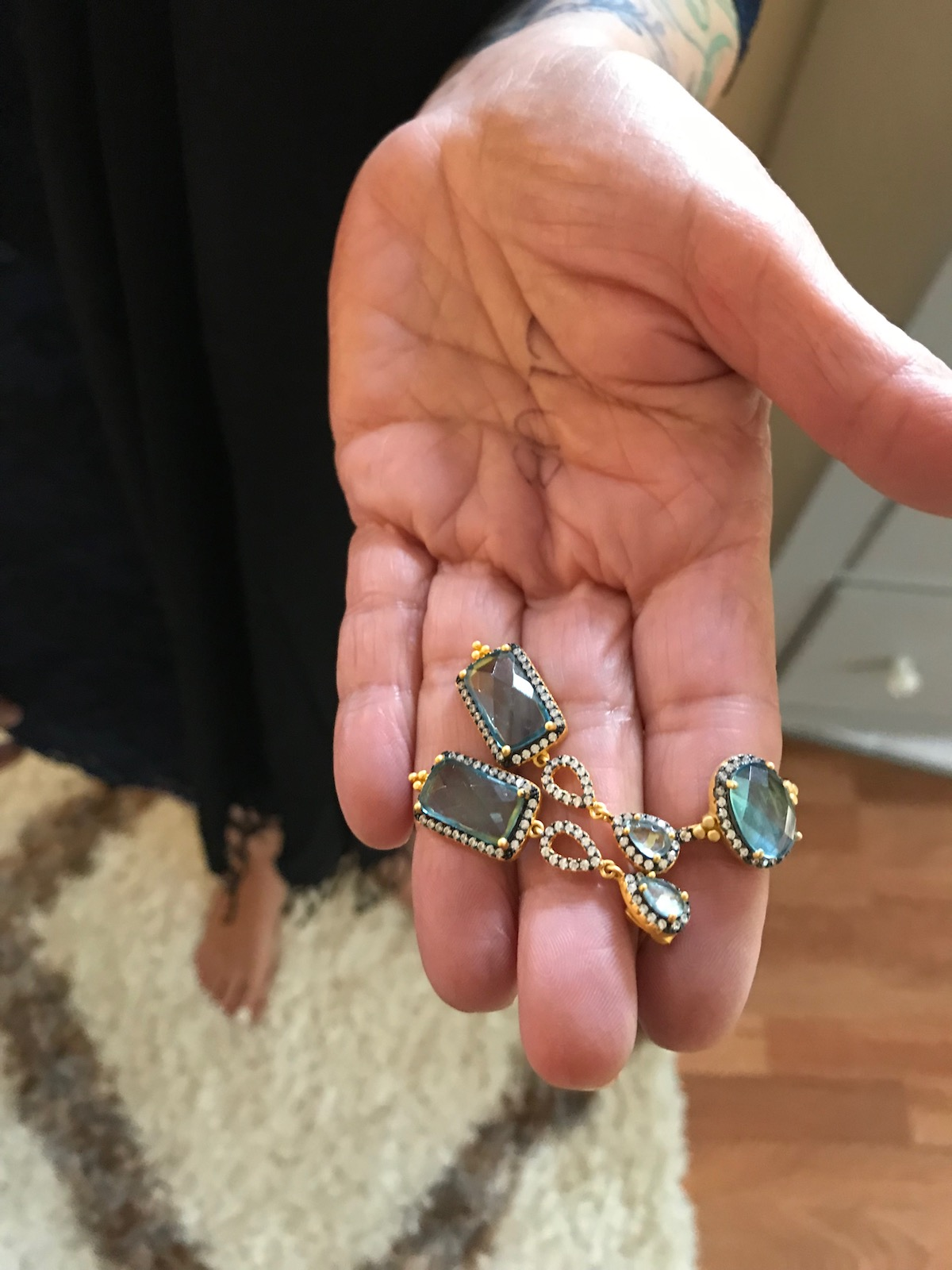 gold and teal stone drop earrings