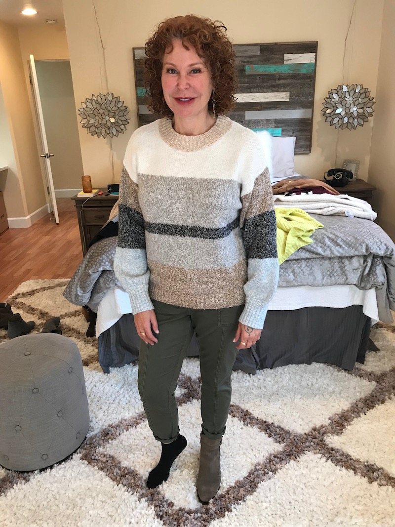 lou and grey striped sweater, lou and grey multi-color sweater, olive green pants, c la cannabienns tan suede booties