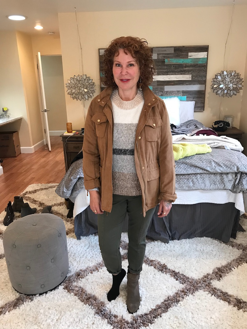 lou and grey striped sweater, lou and grey multi-color sweater, vince camuto tan suede jacket, dark green pants, c la cannabienns tan suede booties